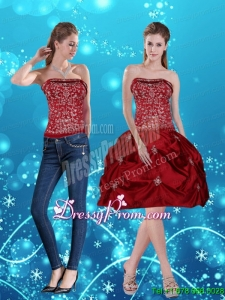 Discount Wine Red Pretty Strapless 2015 Prom Skirts with Embroidery
