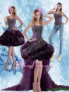 Elegant High Low Dark Purple Prom Skirts with Ruffled Layers and Beading