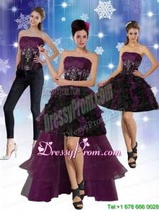 High Low Strapless 2015 Prom Skirts with Ruffles and Embroidery