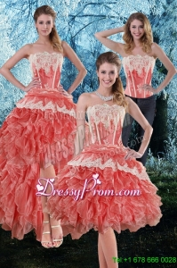 Inexpensive 2015 Appliques and Ruffles Strapless Prom Skirts in Watermelon