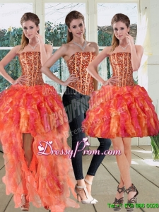 Modest Strapless Multi Color 2015 Prom Skirts with Beading and Ruffles