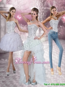 New Style Strapless White Prom Skirt with Ruffles and Beading