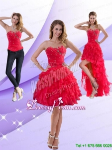 Perfect Strapless Red 2015 Prom Skirts with Ruffles and Beading