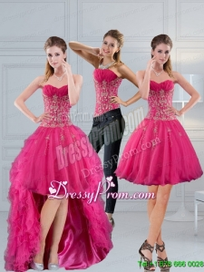 Perfect Sweetheart Hot Pink 2015 Prom Skirts with Appliques
