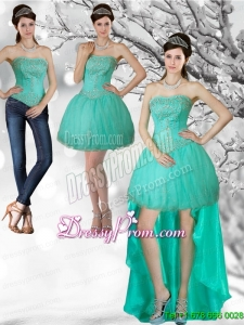 Unique Apple Green Strapess High Low Prom Skirts with Beading