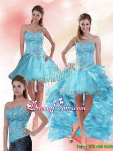 Unique Aqua Blue Sweetheart High Low Prom Skirts with Ruffles and Beading