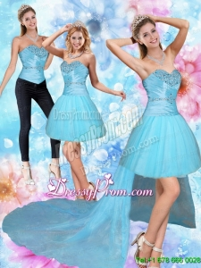 Unique High Low Sweetheart Beading Prom Skirts in Baby Blue