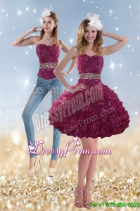 2015 Romantic Beading and Ruffles Prom Skirts in Wine Red