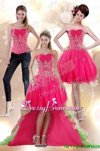 Discount 2015 High Low Appliques Strapless Prom Skirts