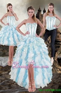 Elegant Sweetheart White and Blue 2015 Prom Skirts with Appliques and Ruffles