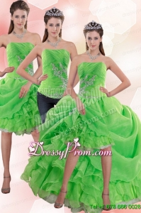 Exclusive Strapless Spring Green Prom Skirts with Appliques and Ruffles
