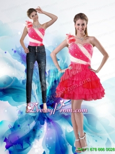 Inexpensive 2015 One Shoulder Prom Skirts with Hand Made Flowers and Ruffled Layers