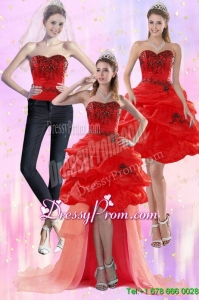 Luxurious Red Strapless 2015 Prom Skirts with Appliques and Pick Ups
