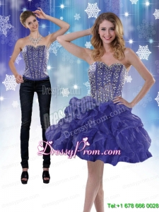 Modest 2015 Sweetheart Royal Blue Prom Skirts with Beading and Ruffles