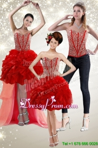 New Style 2015 Red Prom Skirts with Beading and Ruffles