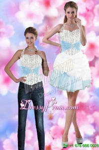 Perfect 2015 Halter Top Prom Skirts with Beading and Pick Ups