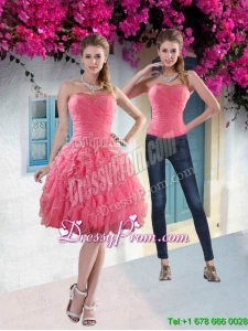 Pretty 2015 Strapless Watermelon Prom Skirts with Beading and Ruffles