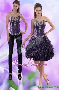 Pretty Sweetheart Dark Purple 2015 Prom Skirts with Appliques and Ruffles