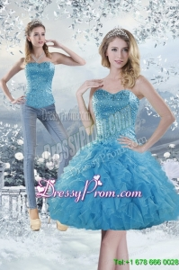 2015 Modest Sweetheart Aqua Blue Prom Skirts with Beading and Ruffles