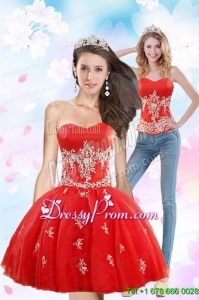 Luxurious 2015 Sweetheart Appliques Prom Skirts in Red