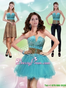 New Style Aqua Blue Leopard Printed 2015 Prom Skirts with Beading