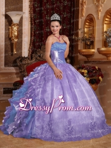 Ball Gown Strapless Ruffles Organza Embroidery Multi-colour 2014 Quinceanera Dress