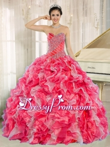 Red and White 2014 Quinceanera Dress with Beadeing and Ruffles for Custom Made