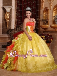 2014 Ball Gown Strapless Rufles Organza Embroidery Multi-colour Latest Quinceanera Dress