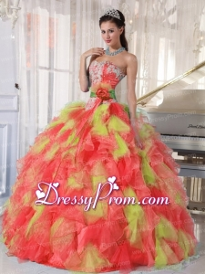 Appliques and Ruffles Organza Multi-color Latest Quinceanera Dress