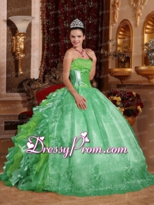 Ball Gown Strapless Green Ruffles Embroidery Beautiful Quinceanera Dress