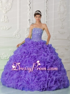 Ball Gown Strapless Organza Purple Latest Quinceanera Dress with Beading and Ruffles