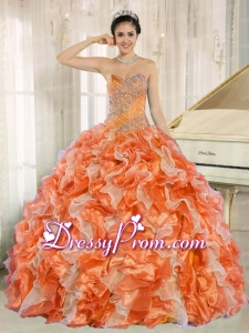 Beaded and Ruffles Custom Made For 2013 Orange Sweetheart Latest Quinceanera Dress