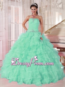 Discount Aqua Blue Ball Gown Strapless Ruching Organza Beading Elegant Quinceanera Dress