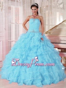 Light Blue Ball Gown Strapless Ruffles Organza Beading Latest Quinceanera Dress