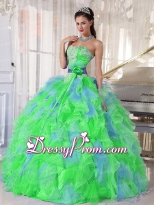 Multi-color Sweetheart Appliques Cheap Quinceanera Dress with Green Flower