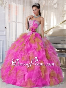 Sweetheart Ruffles Beading Elegant Quinceanera Dress with Hand Made Flower in Multi-colour