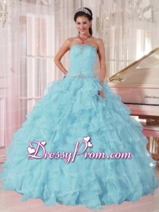 2014 Low Price puffy Light Blue Traditional Quinceanera Dress with Beading and Ruffles