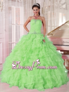 2014 New Spring Green Strapless Ruffles and Beading Pretty Quinceanera Dress for Girl