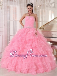 Baby Pink Ball Gown Strapless Floor-length Organza Beading Stylish Quinceanera Dress
