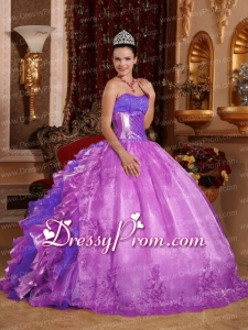 Ball Gown Strapless Ruffles and Beading Lilac 2014 Perfect Quinceanera Dress