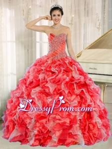 Beaded and Ruffles Custom Made For 2013 Red Traditional Quinceanera Dress