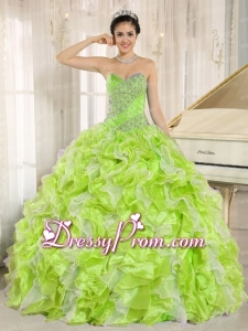 Beaded and Ruffles Custom Made For Yellow Green Traditional Quinceanera Dress