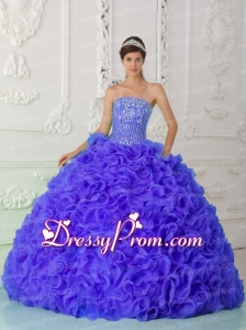 Blue Pretty Quinceanera Dress Ball Gown Strapless Organza Beading