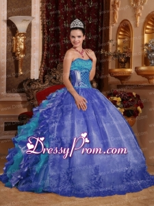Cheap Ball Gown Blue Modern Quinceanera Dress with Strapless Floor-length Organza Embroidery