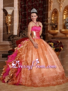 Discount Ball Gown Strapless Ruffles Organza Traditional Quinceanera Dress with Embroidery