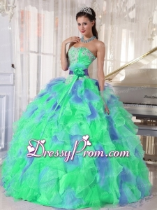 Green and Blue Sweetehart Ruffles and Appliques Perfect Quinceanera Dress
