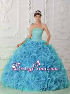 Organza Ball Gown Strapless Beading Blue Traditional Quinceanera Dress with Ruffles