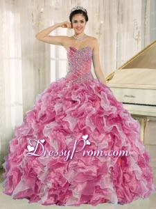 Pink Beaded Bodice and Ruffles Custom Made For 2013 Perfect Quinceanera Dress