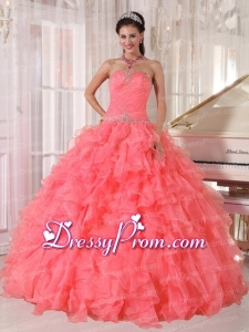 Popular Strapless Watermelon Red Ruffles Beading Perfect Quinceanera Dress for 2014