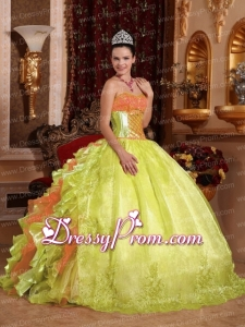 Spring Green Ball Gown Strapless Floor-length Organza Embroidery Pretty Quinceanera Dress